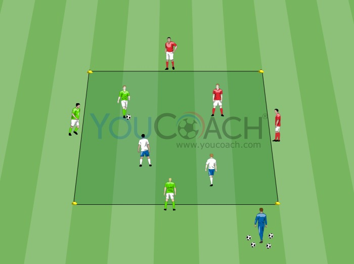 Aerobic ball possession 4+2 vs 2 in the square with supports