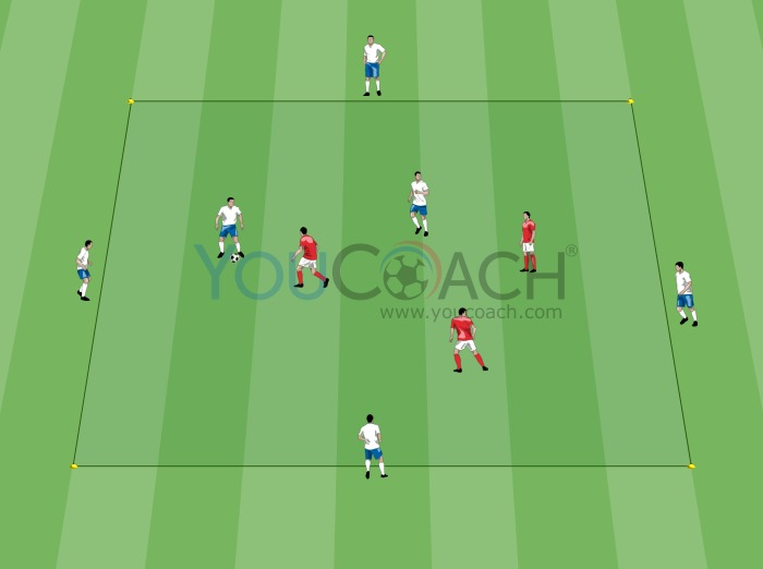 Ball possession 2 vs 3 with 4 external layoff players