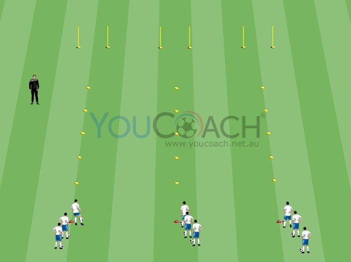 Speed dribbling competition and ball control with a winning pass